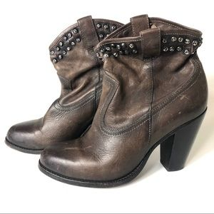 Frye Size 9 Brown Leather Studded Boots Block Heel